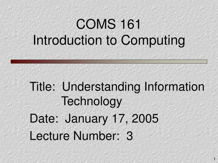 coms 161 introduction to computing n.