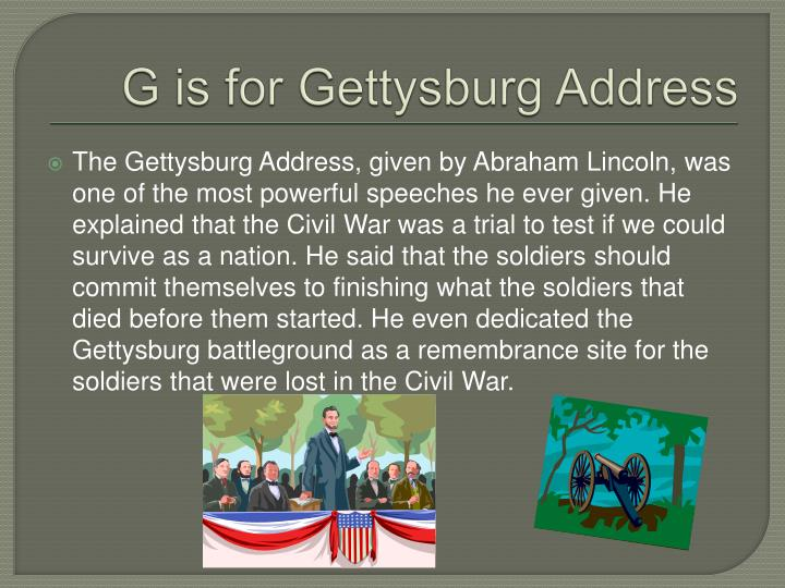 G is for Gettysburg Address