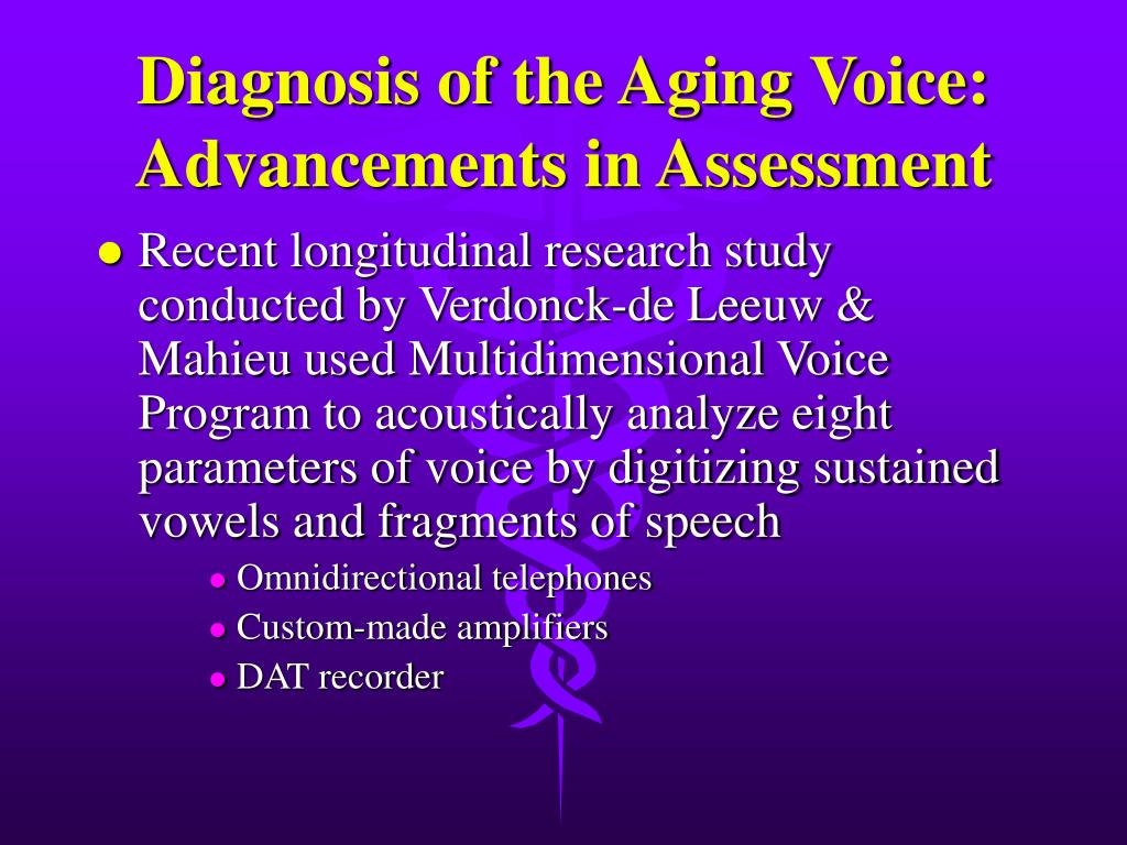 Diagnosis of the Aging Voice: Advancements in Assessment