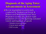 diagnosis of the aging voice advancements in assessment