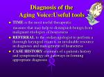 diagnosis of the aging voice useful tools