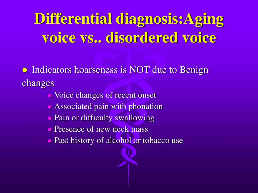Differential diagnosis:Aging voice vs.. disordered voice