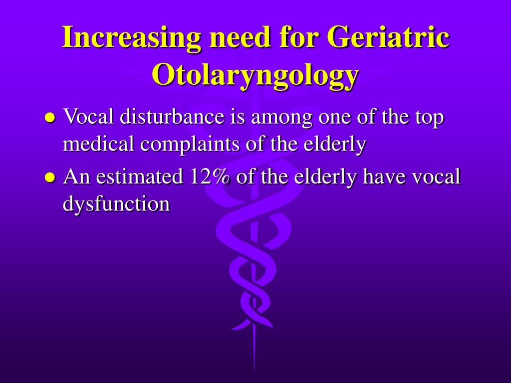 Increasing need for Geriatric Otolaryngology