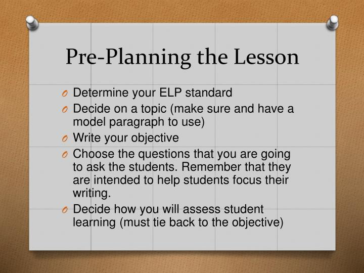 Pre-Planning the Lesson