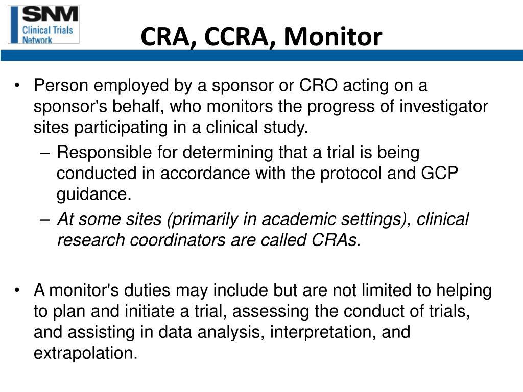 CRA, CCRA, Monitor