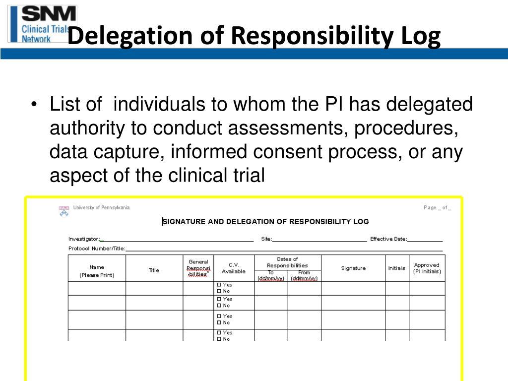 Delegation of Responsibility Log