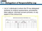delegation of responsibility log