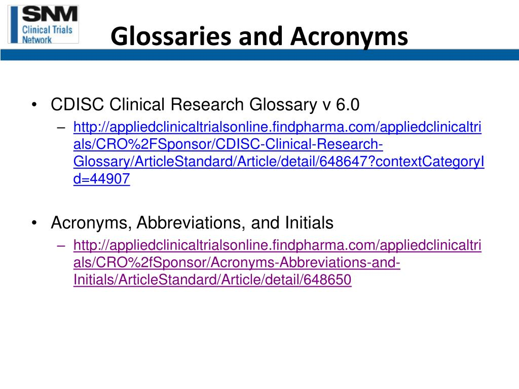 Glossaries and Acronyms