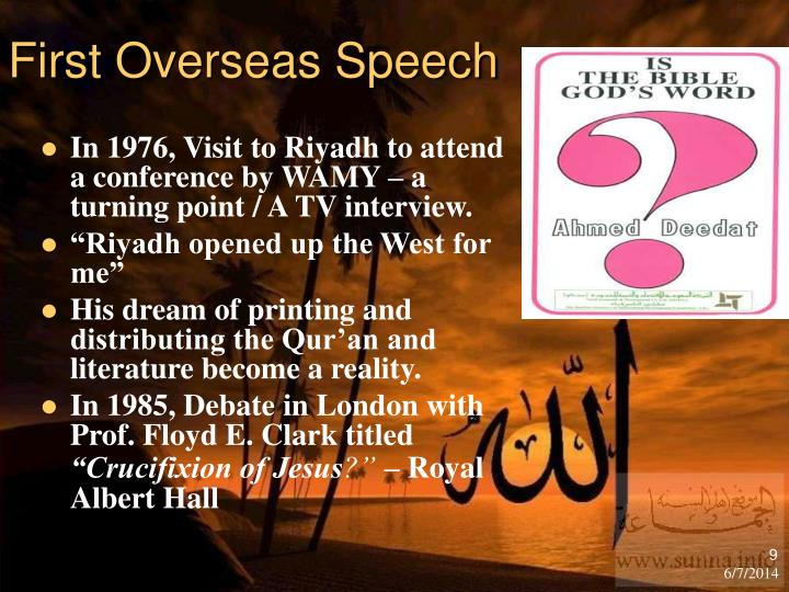 First Overseas Speech
