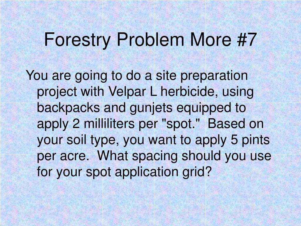 Forestry Problem More #7