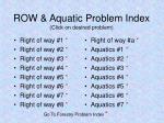 row aquatic problem index click on desired problem