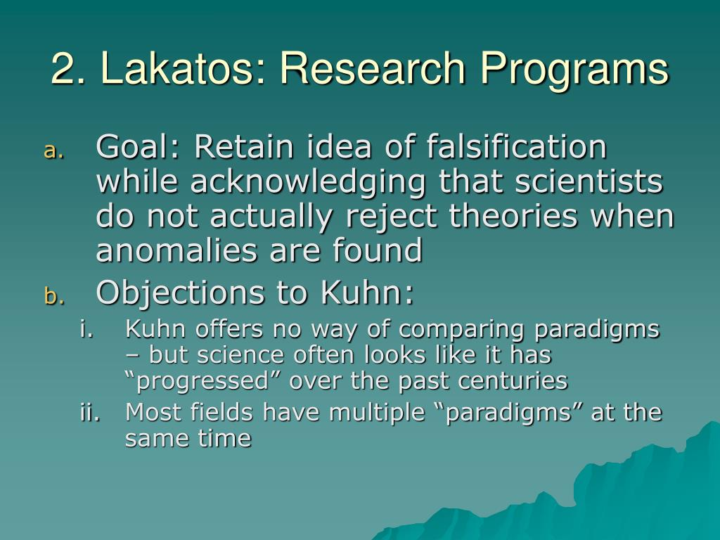 2. Lakatos: Research Programs
