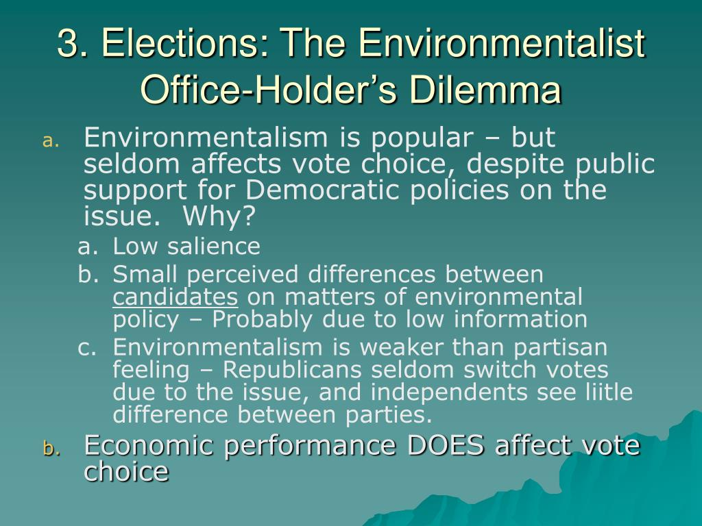 3. Elections: The Environmentalist Office-Holder's Dilemma