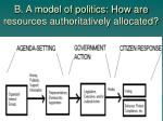 b a model of politics how are resources authoritatively allocated