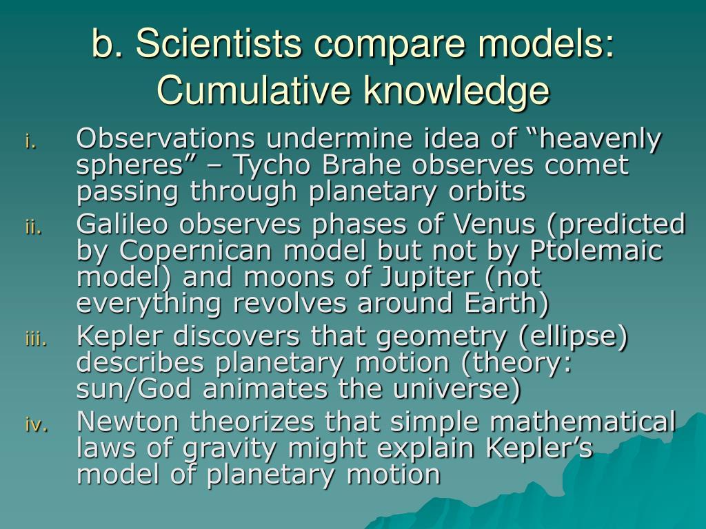 b. Scientists compare models: Cumulative knowledge