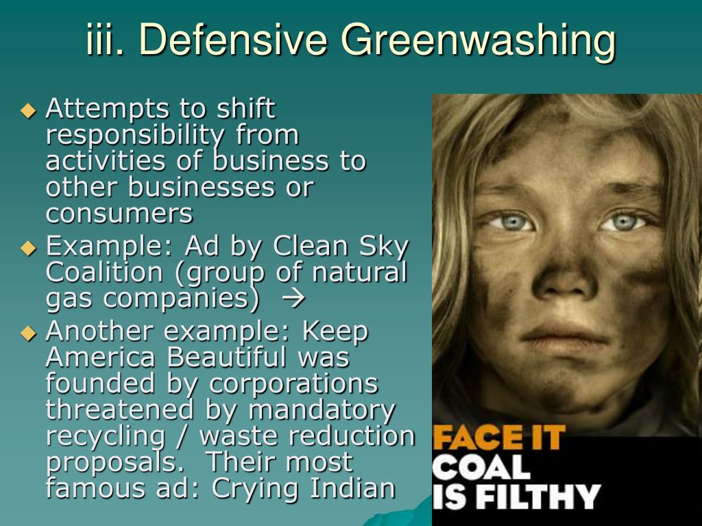 iii. Defensive Greenwashing