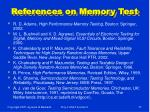 references on memory test