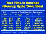 test time in seconds memory cycle time 60ns