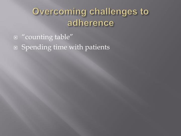 Overcoming challenges to adherence
