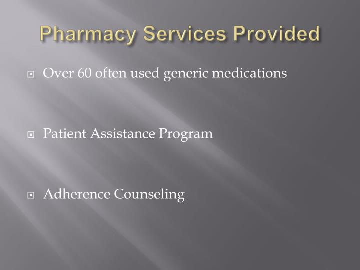 Pharmacy Services Provided