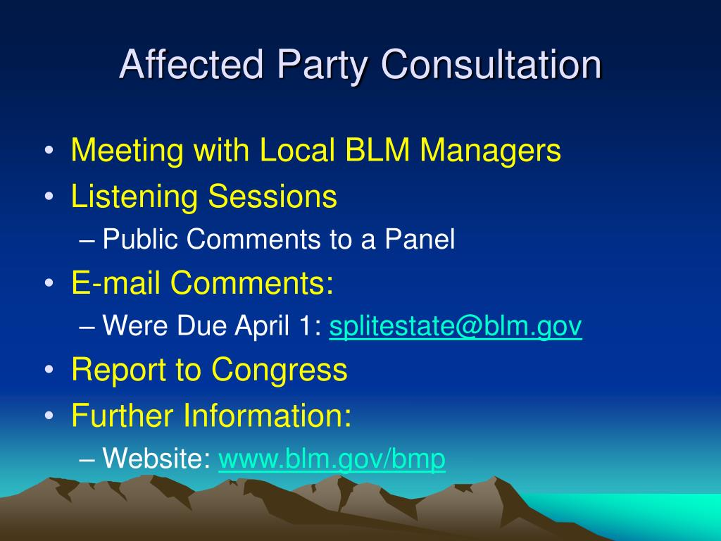 Affected Party Consultation