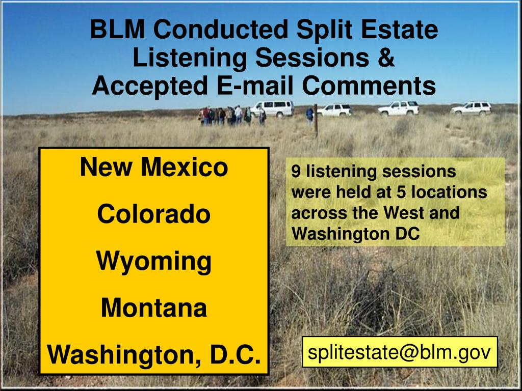 BLM Conducted Split Estate