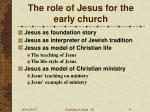 the role of jesus for the early church
