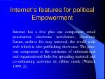 internet s features for political empowerment