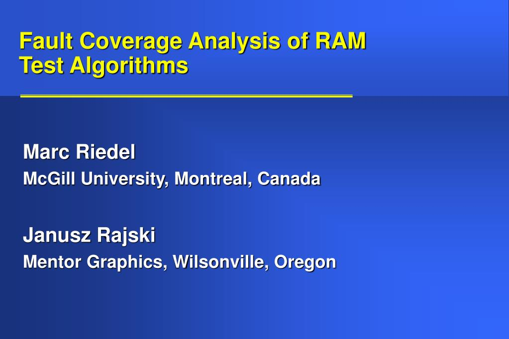 fault coverage analysis of ram test algorithms l.