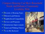 compact housing can meet household needs and enhance community livability with