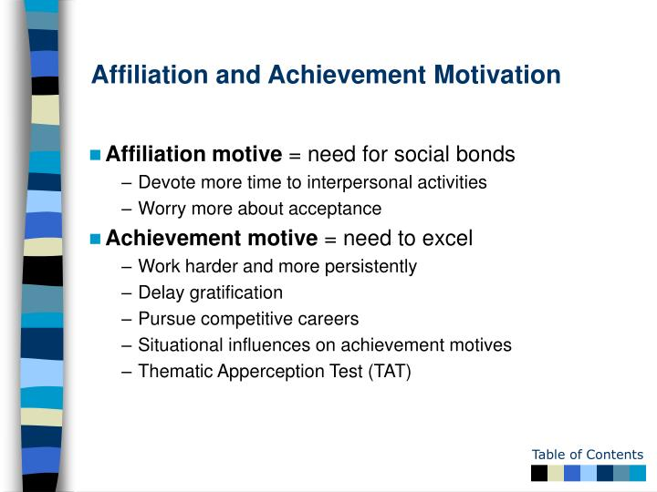 Affiliation and Achievement Motivation