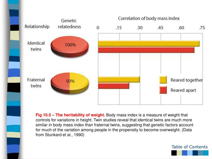 Fig 10.5 – The heritability of weight.