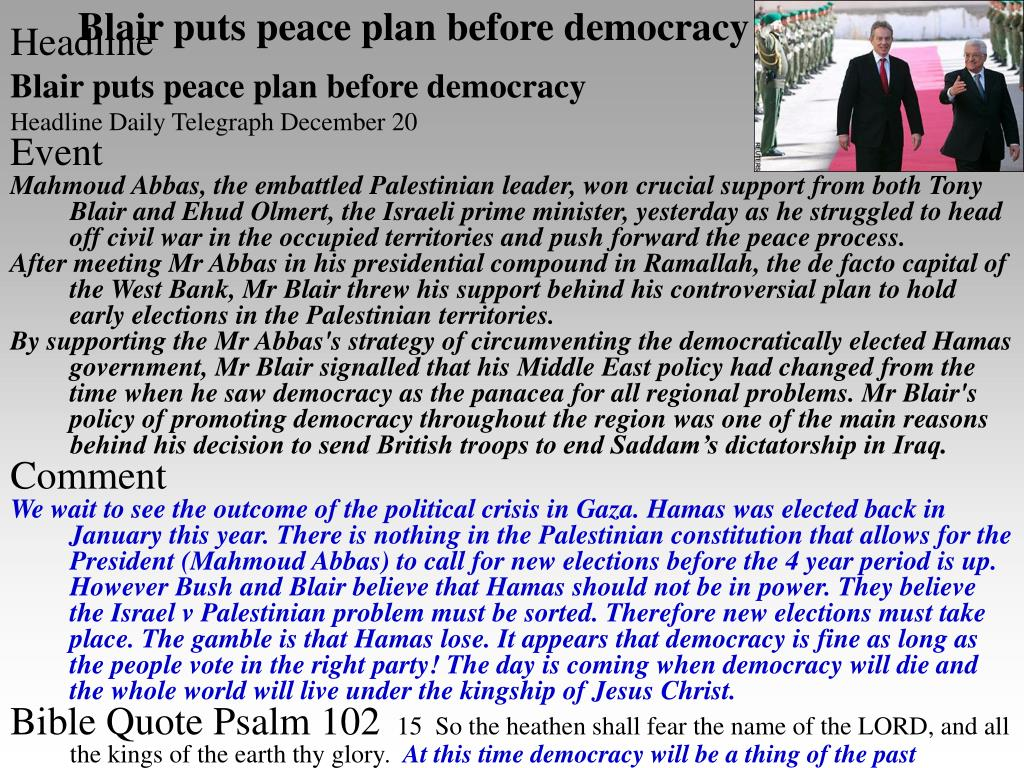 Blair puts peace plan before democracy