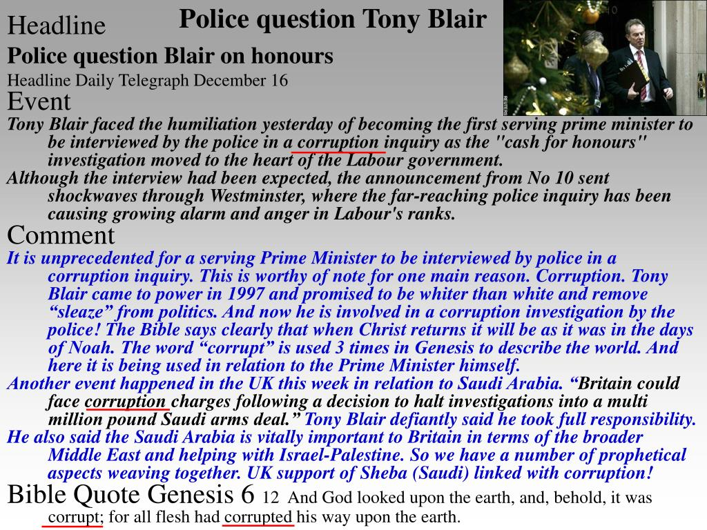 Police question Tony Blair