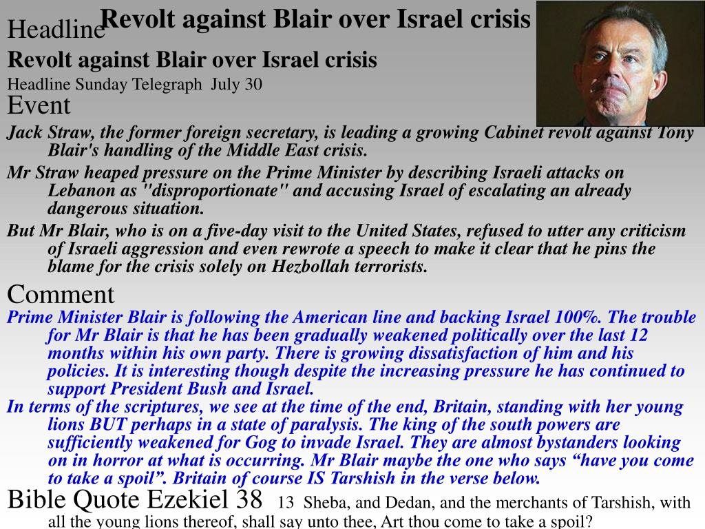 Revolt against Blair over Israel crisis