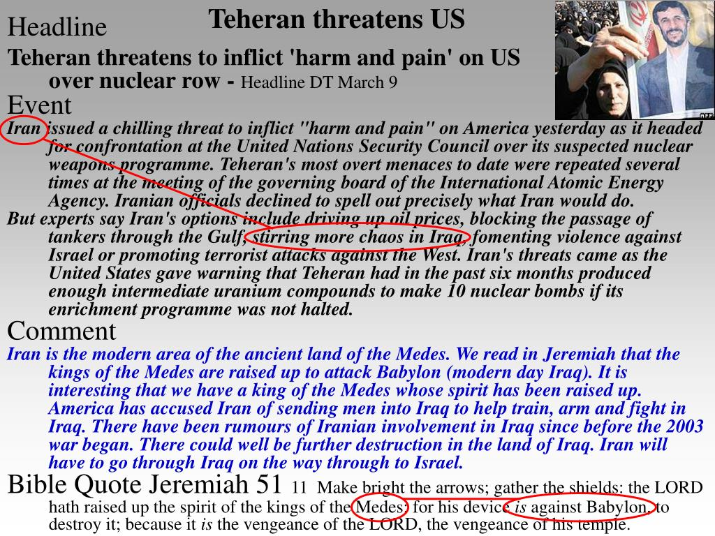 Teheran threatens US