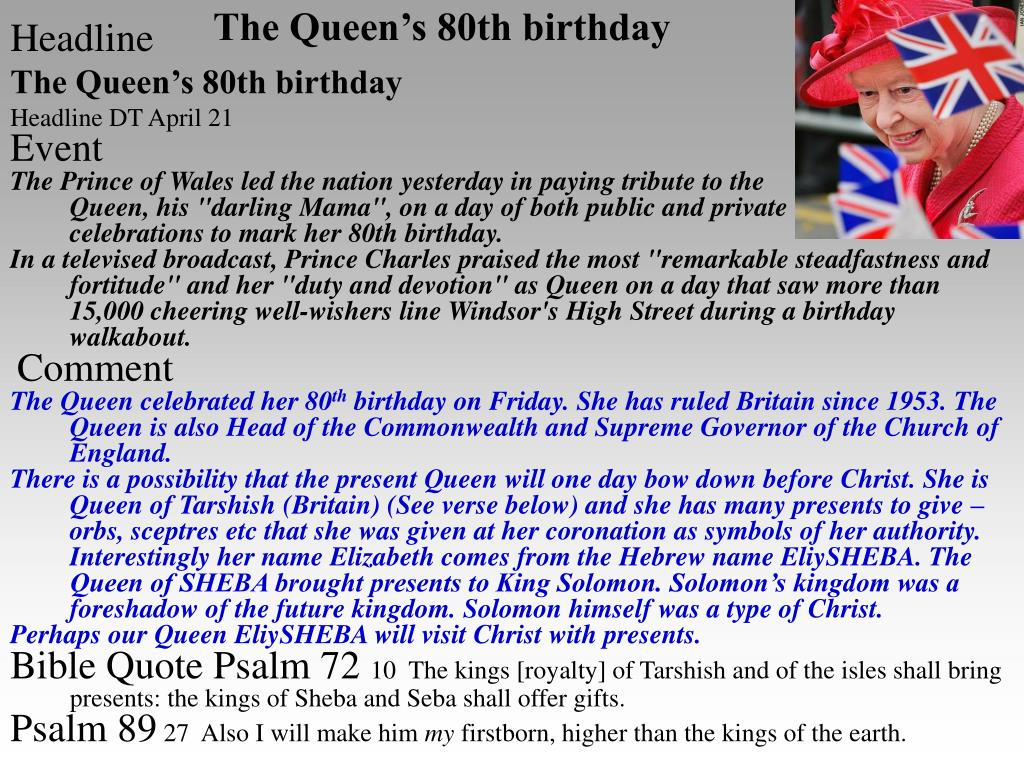 The Queen's 80th birthday