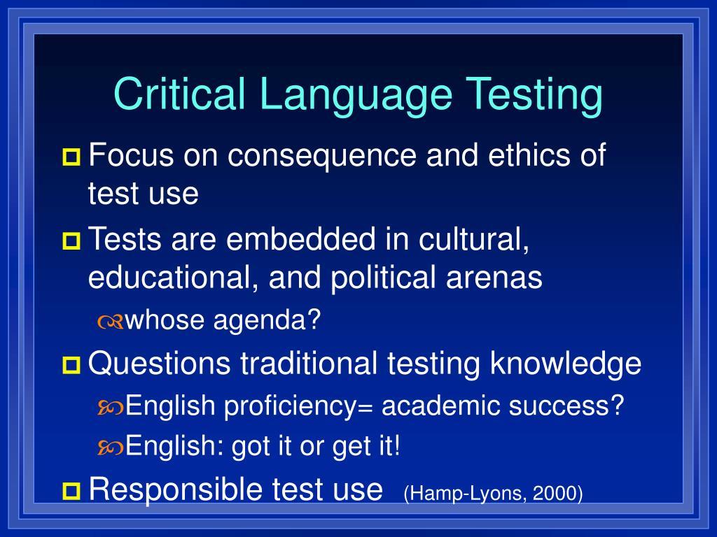 Critical Language Testing