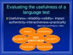 evaluating the usefulness of a language test