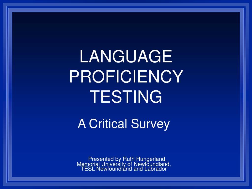 language proficiency testing l.