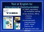 t est o f e nglish for i nternational c ommunication