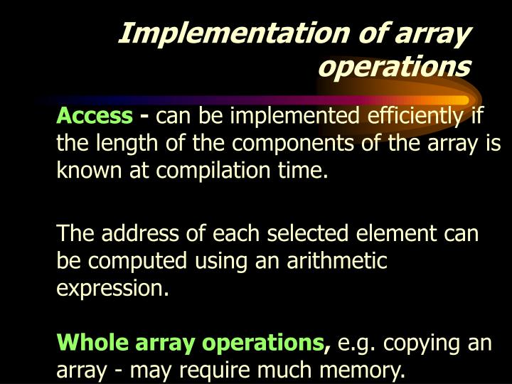 Implementation of array operations