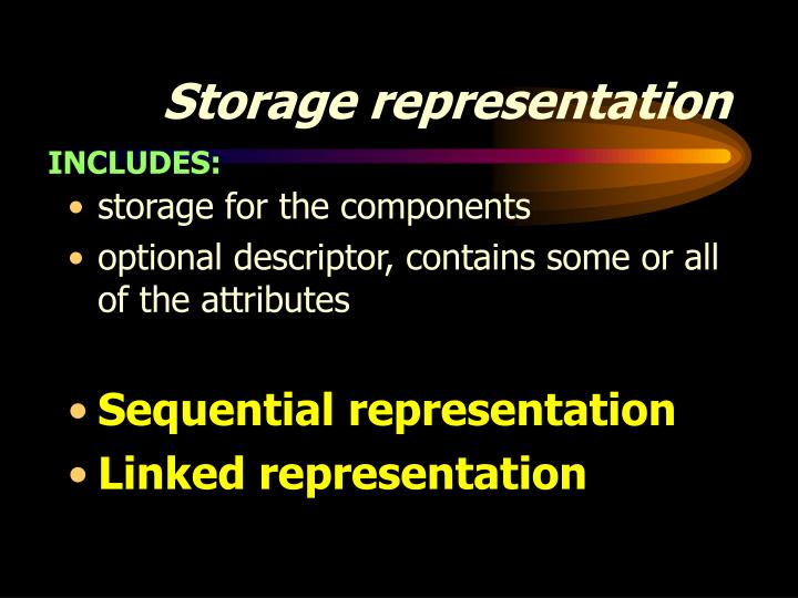 Storage representation