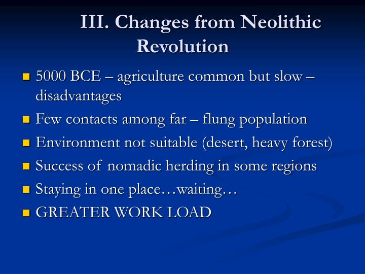 III. Changes from Neolithic Revolution