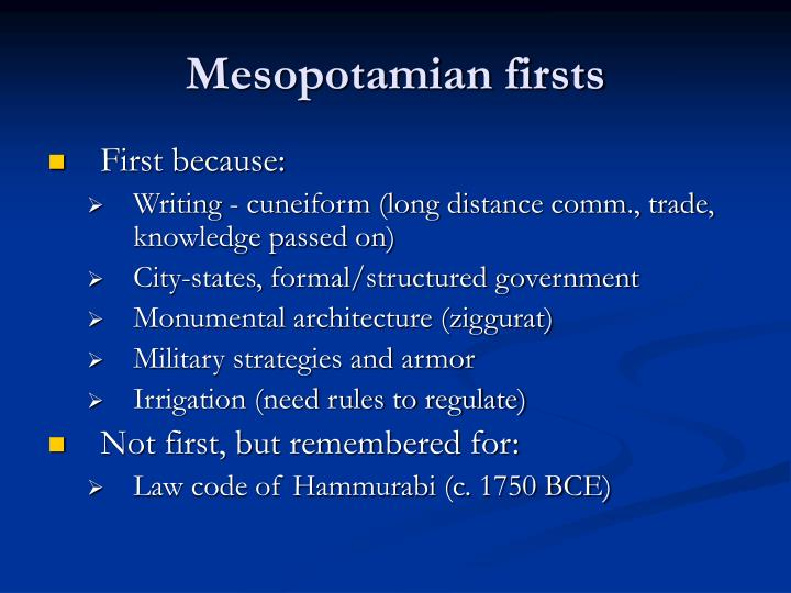 Mesopotamian firsts