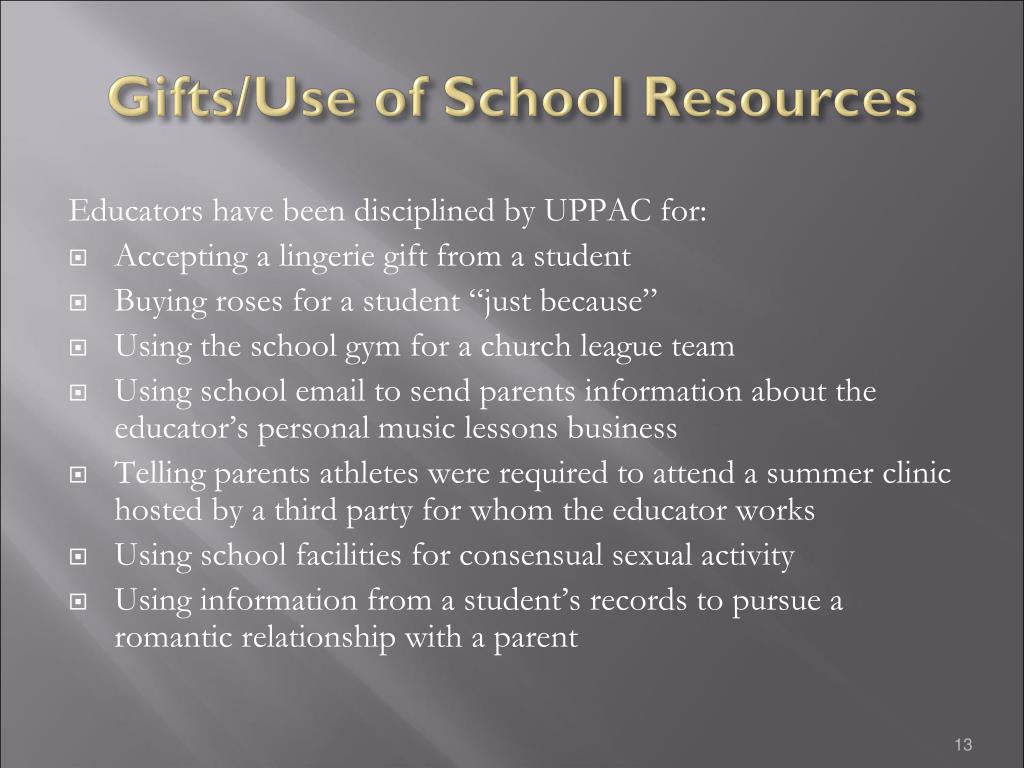 Gifts/Use of School Resources