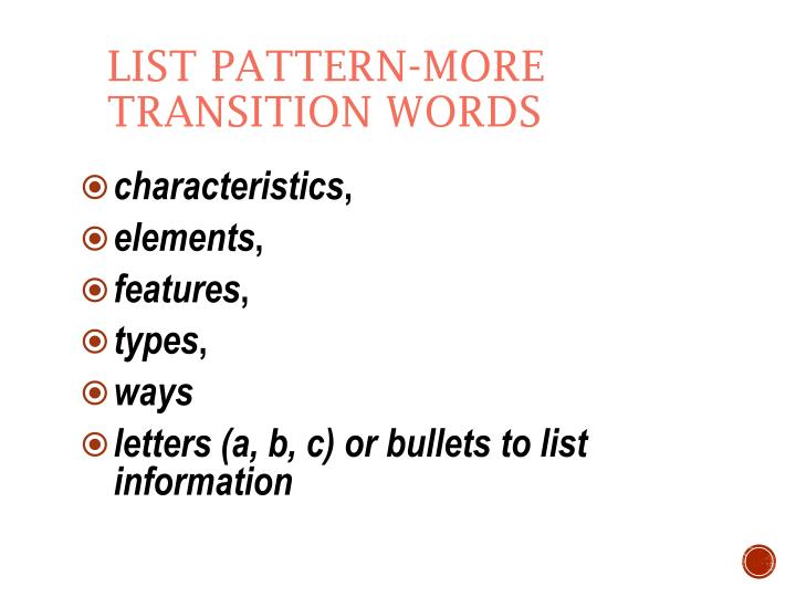 List Pattern-more transition words