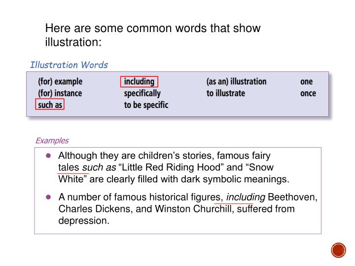 Here are some common words that show illustration: