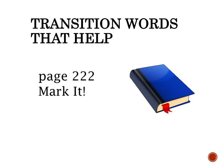 Transition Words that help