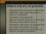 matters that are not grievable